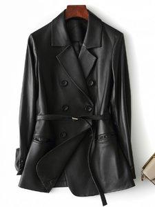 Nerazzurri Black faux leather blazer women long sleeve belt Plus size leather jacket women 5xl New arrivals 2020 womens clothing Y1112