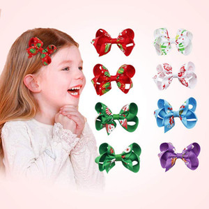 Baby Christmas Hair Bow Clip Cartoon Children Girl Elk Snowman Kids Boutique Barrettes Princess Gift Party Xmas Hair Accessories