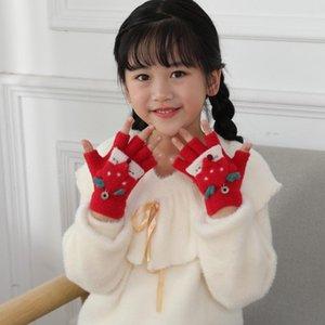 Christmas Cashmere Knitting Gloves Cartoon Mittens For Kids Winter Warm Fingerless Wrist Mittens Half Finger Flip Gloves