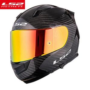 LS2 FF801 Karbon Fiber Kabuk Tam Yüz Motosiklet Kask Krom Kırmızı Visor Casto Moto ile Anti-Sis Film Ece