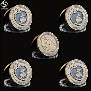 5pcs 1912 RMS Titanic Coração do Oceano Coin Medalha de Bronze esmalte azul do esmalte Grande navio coleção de moeda