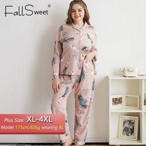 Kadınlar Uzun Kollu Baskı Pijama Kadınlar pijamalar Seksi Gecelik 4XL için FallSweet Artı boyutu Pijama Takımları