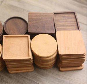 Wooden Coasters Black Walnut Coffee Tea Cup Mats Wooden Cup Mat Bowl Pad Teapot Drink Coasters Home Bar Tools Free Ship