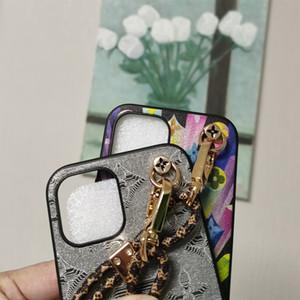 Caso de telefone de moda para iPhone 12 12PRO MAX 8PLUS x XR XSMAX Top Quality Couro Impressão Designer Capa de telefone com correias para o iPhone 11