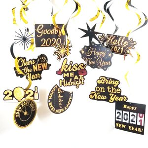 Happy New Year Hanging Swirls 2021 Glitter Spiral Pendant New Years Eve Party Ceiling Hanging Swirl Garland Christmas Home Decor