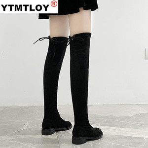 New fashion Shoes Women Boots Black Over the Knee Boots Sexy Female Autumn Winter lady elastic force Thigh High Size 35-44