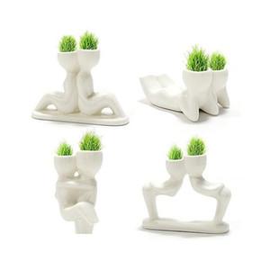 20pcs 귀여운 미니 크리 에이 티브 남자 식물 선물 공장 머리 잔디 인형 사무실 미니 식물 환상적인 홈 장식 냄비 정원 DIY 빠른 배