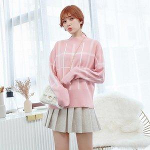 DMLFZMY 2020 Otoño Nuevo Estilo Estilo Coreano Moda Moda Gran Patrón Poder-Fit Deck Punto Suéter Sweater Blouse1