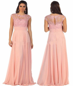 Retro Pink Chiffon A Line Mother Of The Bride Dresses Jewel Neck Lace Appliques Beaded Formal Evening Gowns Cap Sleeves Mother Dress AL7311