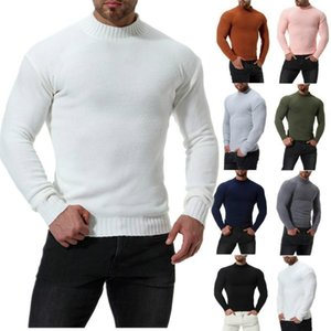 2020 Autumn Winter New Brand Pullover Casual Solid Color Knitted Top Warm Elastic Sweater Round-Neck Slim Fit Men Clothes Jumper