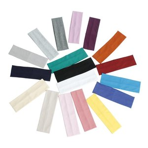 Simple Wide Turban Women Cotton Fitness Yoga Stretch Headband Sport Sweatband Elastic Hair Band Solid Color Hair Accessories