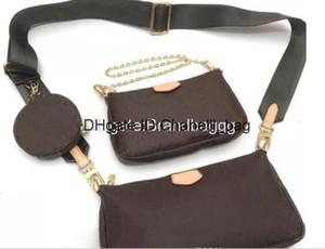 2020 Fashion Multi Pochette Accessories Designer Luxury Handbag Purse Genuine Leather L Flower Shoulder Crossbody Bag Ladies Purses 3 Pcs Pu
