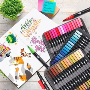 12-120 Colors Fineliner Art Marker Pens Drawing Painting Watercolor Dual Tip Brush Pen for Bullet Journals Adult Coloring Books 201211