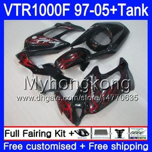 Body +Tank For HONDA SuperHawk VTR1000F 97 98 99 Black&flames 00 01 05 56HM.41 VTR1000 F VTR 1000 F 1000F 1997 1998 1999 2000 2001 Fairings