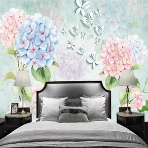 خلفيات صور مخصص صور الجداريات 3d مجسمة غرفة المعيشة فندق الجمال الزهور فراشة الحديثة 3d جدارية
