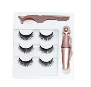 Women Girls Magnetic Eyelashes False Lashes + Liquid Eyeliner + Tweezer Eye makeup set Reusable Natural 3D Magnet False Eyelash F101907