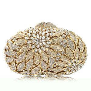 Palla borsa del partito del metallo dell'oro Foglie Cristalli Bianchi Evening Clutch borse di lusso da sposa Donne Borse strass Mini Minaudière Q1113