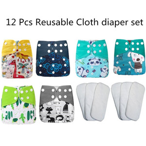 [simfamily]Baby Diaper set Reusable Washable Cloth Diaper Cover Adjustable Eco-friendly Nappy 3-15kg baby Q1221