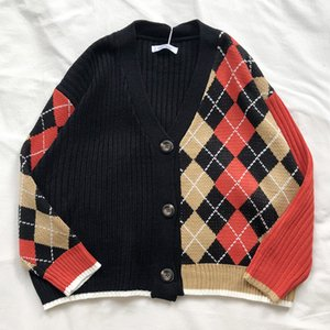3 colors 2019 spring and autumn korean style color patchwork V neck plaid knittd cardigans womens sweaters womens (X180) C0127