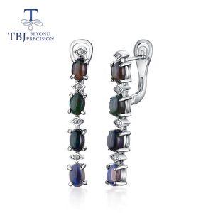 TBJ, Natural Preto 4CT opala brinco Oval 4 * 6 milímetros, natural Moonstone Branco brinco prata 925 jóias finas para o presente mulheres
