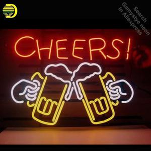 Alkış Bira Neon Ampul işareti el sanatları Glass için Neon Tabela bağbozumu Süsleme pencereler Otel Beer Bar pub Coffee Club ışık VD tüpleri