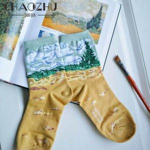 CHAOZHU Retro Oil Painting Famous Literary Abstraction Character Women Cotton Socks Aesthetic Fashion Vintage Girls Socks Art
