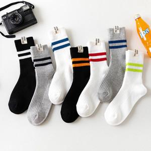 Moda y ocasionales Nuevos calle de invierno de la etiqueta de tela calcetín otoño dos barras gruesas de los hombres de línea de calcetines deportivos estilo rayas socks2 algodón de los hombres ocasionales