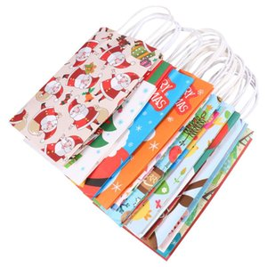 14Pcs Kraft Handhold Bag Christmas Gift Bag Handbag (Assorted Color)