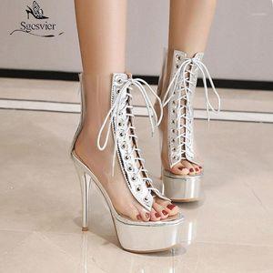 Сексуальные Sexy Clear Shoes Женщины STILETTO каблуки на каблуки ботильоны для лето прозрачные туфли Женщина Дамы Peep Toe платформы Sandals1