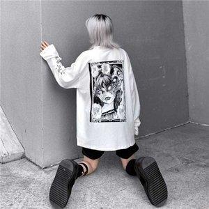 Dibujos animados de horror gráfico mujeres gótico impresión de gran tamaño rockulzzang punk camiseta camiseta Top Harajuku Tshirt Streetwear TEE X1217