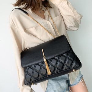 Retro Lingge Chain Big Tassel Handbags Women Shoulder Bags Pu Leather Crossbody Bag Large Tote Lady Purse New 2020 high quality new