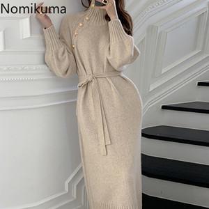 Nomikuma Botones vintage de tortuga de tortuga de tortuga suéter vestido coreano sashes delgado cintura vestidos de punto 2020 nuevos vestidos básicos elegantes 6d343 q1229