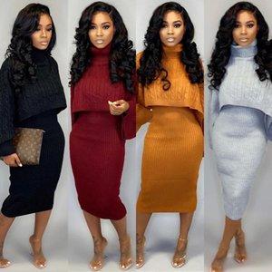 Fashion Women Two Piece Dresses Sleeveless T Shirt Dresses High Neck Long Sleeve Sweater Designer Fall Winter Clothing 998