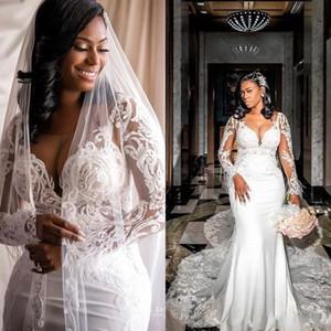 2021 Long Sleeves Wedding Dresses Mermaid Lace Applique Chapel Train Scoop Neck Illusion Custom Made Garden Wedding Gown vestido de novia