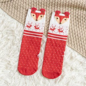 4 Styles Winter Women Sock Red Christmas Sock Cute Cartoon Elk Deer Dog Socks Cotton Keep Warm Baby Girl Boy Soft Socks DHD2446