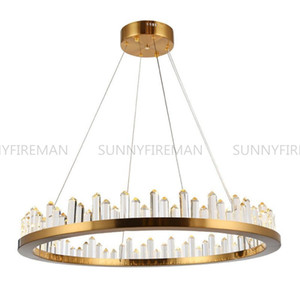 Brief Design Gold Crystal Chandelier Stainless Steel Pendant Lamp AC110V 220V Lustre LED Dinning Room Living Room Hanging Lights Lighting