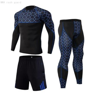 New Mens 3 Piece Sports Suit Quick Dry T-shirt Long Sleeve Top Sweat Gym Clothes Basketball Compression Leggings Training Set