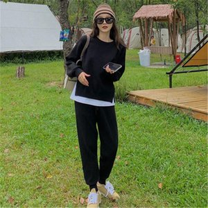 CBAFU spring autumn women tracksuit knitted 2 piece set casual soft sweater pullovers pants suit female knit sets trousers M026