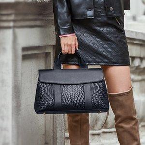 ZOOLER tejido hecho a mano las mujeres de bolso Diseñado suave cuero genuino bolsos de las mujeres bolsos de cuero Negro hombro señoras de bolso de lujo Y128