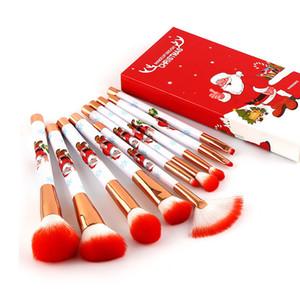 10PCS سانتا كلوز بنية فرشاة مجموعة هدايا عيد الميلاد ماكياج أداة فرشاة ماكياج عيد الميلاد هدية 3-لون فرشاة رئيس XD24078