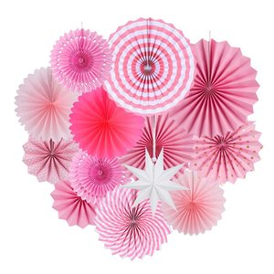 13pcs Pink Paper Fan Round Wheel For Baby Shower Kids Birthday Christmas Wedding Party Craft Event Photo Backdrop Decor 201023