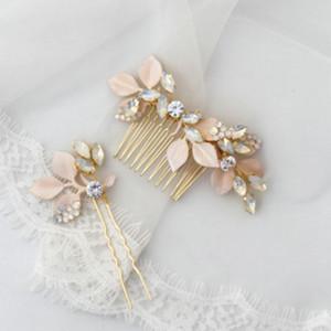 Bridal Hair Comb Rose Flower Headdress Opal Crystal Wedding Hair Accessories