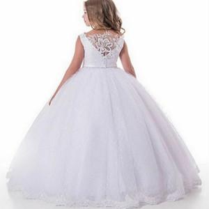 2021 weiße Blumen-Mädchen-Kleider für Hochzeits-Spitze Mädchen-Festzug-Kleid Kinder Erstkommunion Prinzessin Kleider