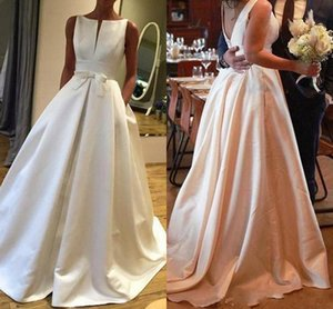 2021 Simple Satin A Line Wedding Dresses Boho Garden Sleeveless Plus Size robes de mariée Sexy Backless Sweep Train Bridal Gowns AL7346