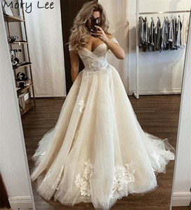 Champagne Wedding Dresses Off The Shoulder A-Line Soft Tulle Lace Wedding Dresses With Lace Up Back vestido de noiva 2021