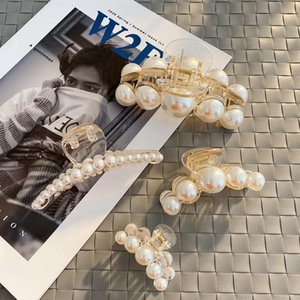 Luxury Trendy Pearls Hairpins Hair Ornaments Simple Shiny Big Pearls Acrylic Crab Hair Claws For Women Girl Accessories Headwear Swy sqcyyl