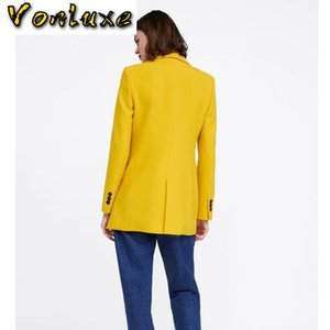 Blazer Fashion Runway Diseñadores de manga larga Abrigo de manga larga Mujeres elegantes Doble Pechuga de algodón Jacket Trajes femeninos