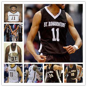 Custom College Basketball St. Bonaventure Bona Bonnies Jersey Kyle Lofton Jaren Holmes Anthony Roberts Dominick Welch Jalen Shaw Winston 4xl