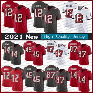 12 Tom Brady Jersey Men's 2020 Novo Red 87 Rob Gronkowski 13 Mike Evans 14 Chris Godwin 81 Antonio Brown Devin Branco Futebol Jerseys