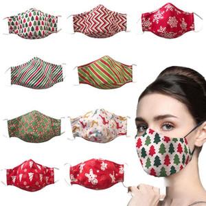 DHL Счастливого Рождества 3D напечатанные хлопчатобумажные дизайн лица маска пыль респиратор можно промыть водой и вставлена фильтрами маски